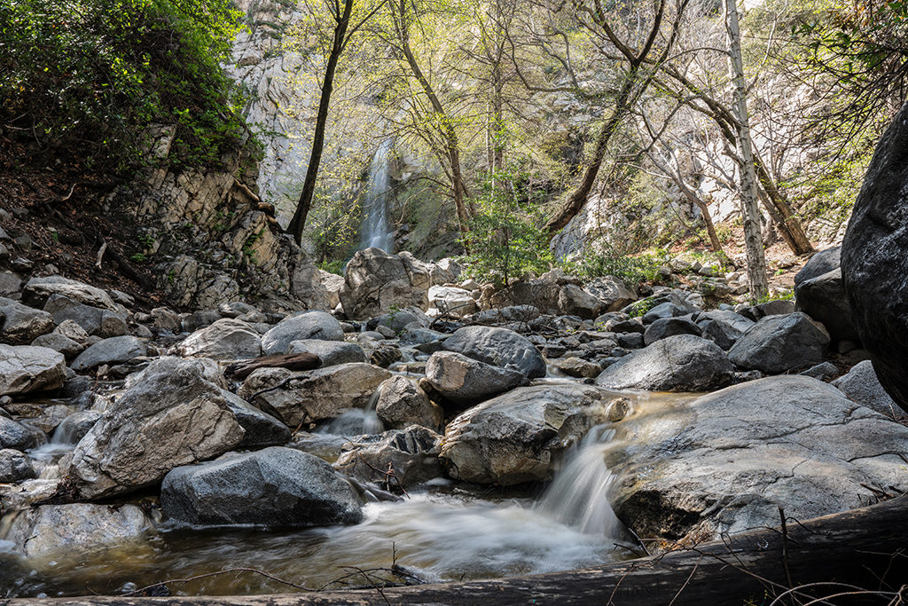 Sturtevant Falls running over large rocks under the shade of trees