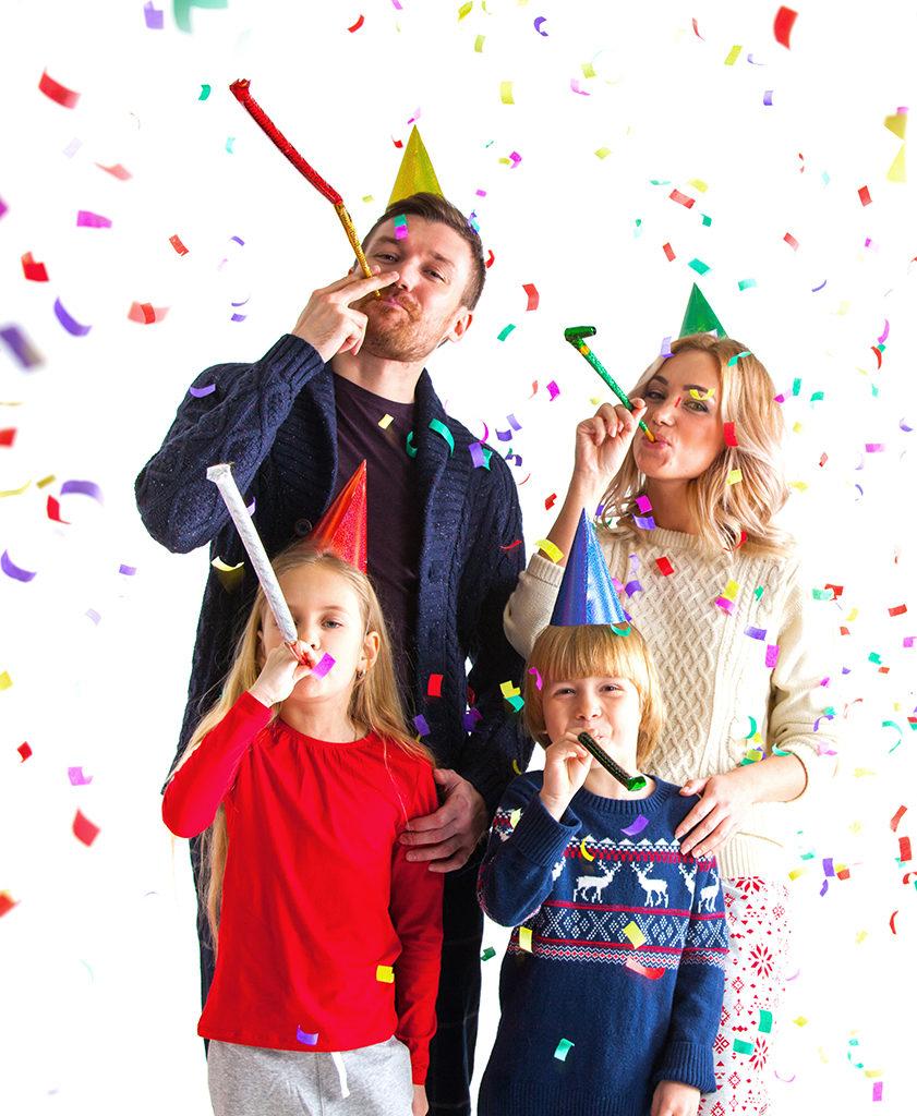 Family celebrating on New Year's Eve
