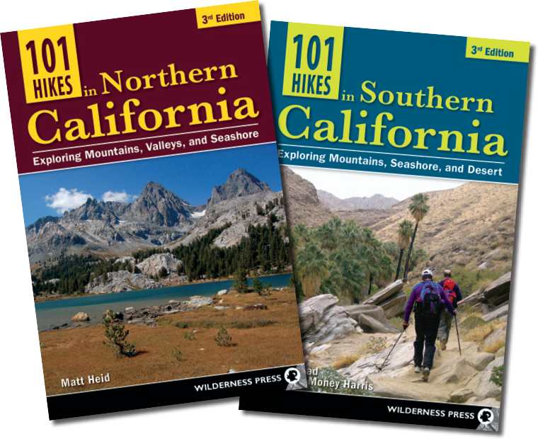 101 Hikes in Northern California and 101 Hikes in Southern California book covers