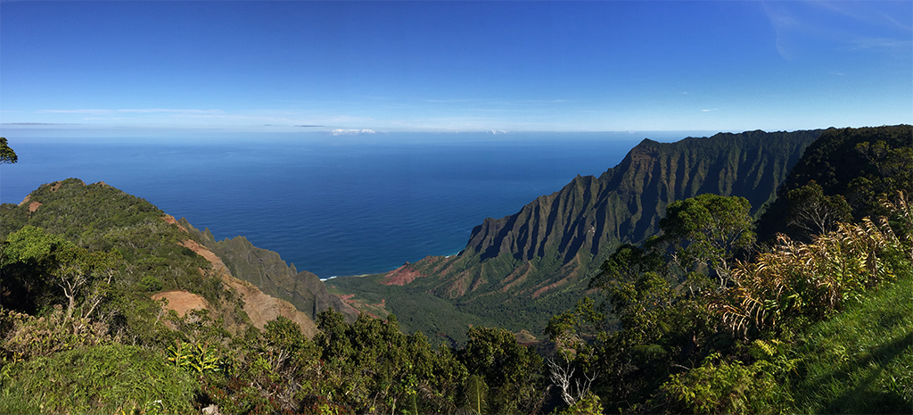 Panoramic view of Kukalau Lookout onto the ocean.