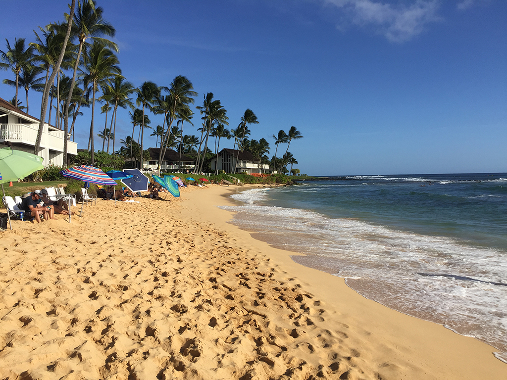 View of visitors on Poipu Beach enjoying the sun and sand.