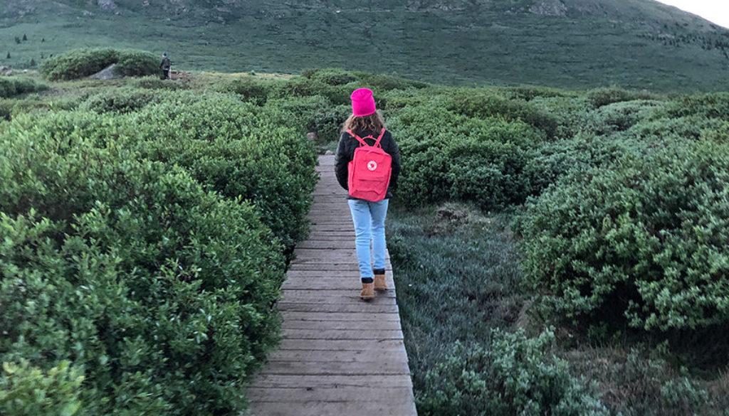 Girl hiking along wooden path toward mountain