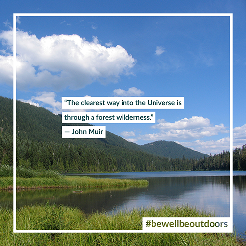 A John Muir quote card from the Daily Calm series of #bewellbeoutdoors.