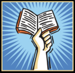Header image of a cartoon hand holding up a book.